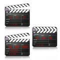 Movie clapboard in different positions Stock Image