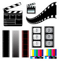 Movie clapper board and filmstrip Stock Images
