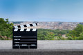 Movie clapper board on Rome scenic view Royalty Free Stock Photo