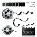 Movie clapper and film reel Royalty Free Stock Photo