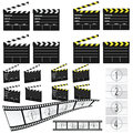 Movie clapper white and yellow and film Royalty Free Stock Photo