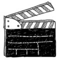 Movie clapperboard sketch Stock Photo