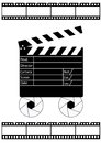 Movie director clapperboard and film strip Stock Photo
