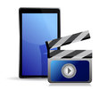 Movie editing on a tablet Royalty Free Stock Photo