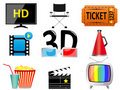 Movie and entertainment icons Stock Image