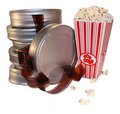 Movie film canisters Stock Photo