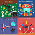 Movie Flat Icons Set Royalty Free Stock Photo
