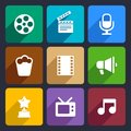 Movie flat icons set infographic for web and mobile applications Royalty Free Stock Image