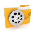 Movie folder icon on white d illustration Royalty Free Stock Images