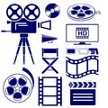 Movie icon set illustration Stock Photos