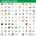 100 movie icons set, cartoon style