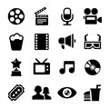 Movie icons set and cinema Stock Photos