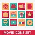 Movie icons set flat Royalty Free Stock Photography