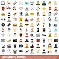100 movie icons set, flat style