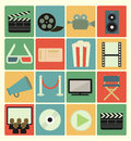 Movie icons set vector flat colorful Royalty Free Stock Photo