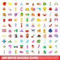 100 movie making icons set, cartoon style