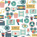 Movie pattern seamless with flat icons Stock Photography