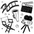 Movie set objects vector Royalty Free Stock Photo