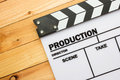 Movie slate film on wooden table Royalty Free Stock Photo