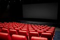 Movie theater or cinema empty auditorium entertainment and leisure concept with red seats Stock Photography