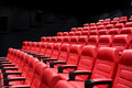 Movie theater empty auditorium with seats entertainment and leisure concept or cinema red Stock Photo