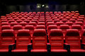 Movie theater empty auditorium with seats entertainment and leisure concept or cinema red Royalty Free Stock Image