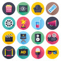 Movie and Theater Flat Icon Set Royalty Free Stock Photo
