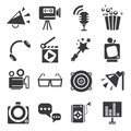 Movie and theater icons set of Stock Image