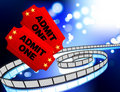 Movie Tickets with film reel internet background Royalty Free Stock Photo