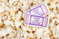 Movie tickets and popcorn Royalty Free Stock Images