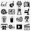 Movie vector icon set on gray icons isolated grey background eps file available Royalty Free Stock Photos