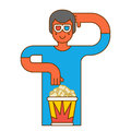 Moviegoer at cinema with popcorn. Stereo glasses. Watch movie Royalty Free Stock Photo