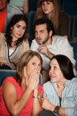 Moviegoers in Suspense Stock Photography