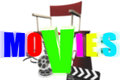 Movies d colorful three dimensional behind the directing chair Stock Photos