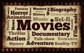 Movies words on old filmstrip background different types of Stock Photography
