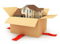 Moving house. Real estate market. Three-dimensional image. Royalty Free Stock Photo