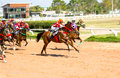 Moving jocky and horse racing sport jocking at korat thailand january Stock Photo