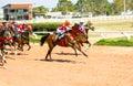Moving jocky and horse racing sport jocking at korat thailand january Stock Photo