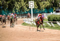Moving jocky and horse racing sport jocking at korat thailand january Stock Image