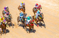 Moving jocky and horse racing sport jocking at korat thailand january Stock Image