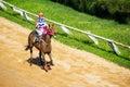 Moving jocky and horse racing sport jocking at korat thailand january Royalty Free Stock Photography