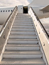 Moving ramp acces to airplane by empty Stock Photos