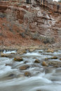 Moving river in red rock canyon zion national park utah usa Stock Images