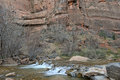 Moving river in red rock canyon zion national park utah usa Royalty Free Stock Photography