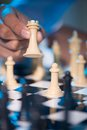 Moving the rook close up image of chess player white Royalty Free Stock Image