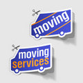 Moving services labels Stock Photos