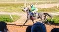 Moving shot jocky and horse racing sport jocking at korat thailand january Stock Photography