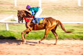 Moving shot jocky and horse racing sport jocking at korat thailand january Royalty Free Stock Photo