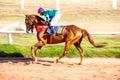 Moving shot jocky and horse racing sport jocking at korat thailand january Royalty Free Stock Photo