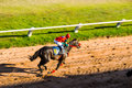 Moving shot jocky and horse racing sport jocking at korat thailand january Stock Image
